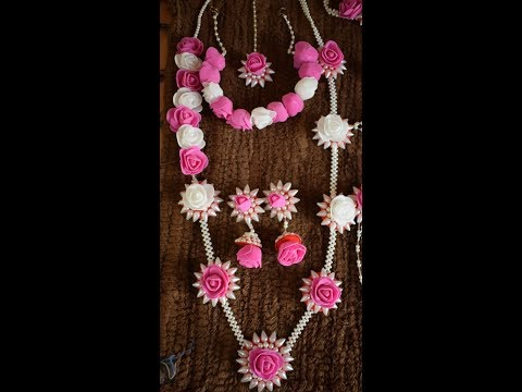 Artificial flowers and  moti  jewellery making - Necklace for dohale jevan or haldi function
