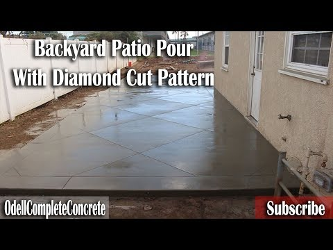 How to Pour a backyard Patio Slab with Diamond Cut Pattern Start to Finish