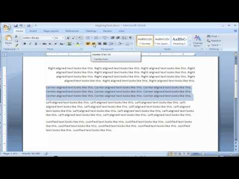 How to align text in Microsoft Word 2007