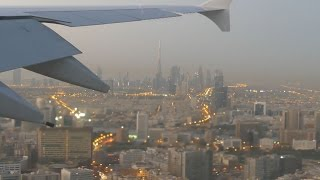 Amazing Emirates A380-800 Sunrise Landing in Dubai (Burj Khalifa View)