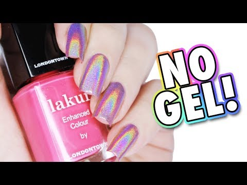 HOW TO USE HOLOGRPAHIC POWDER WITHOUT GEL | Pink Holo Manicure