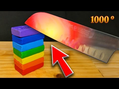 EXPERIMENT Glowing 1000 degree KNIFE VS PLAY DOH RAINBOW     -  EXPERIMENT AT HOME