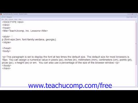 HTML5 and CSS3 Tutorial Font Sizes Training Lesson 15.7