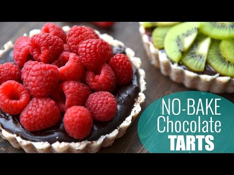 No Bake Chocolate Raspberry Tarts | HEALTHY DESSERT RECIPE ♡