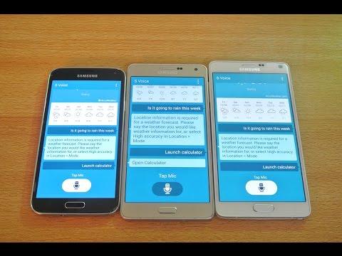 Samsung Galaxy A7 vs Galaxy Note 4 vs Galaxy S5 - S Voice Speed Comparison HD