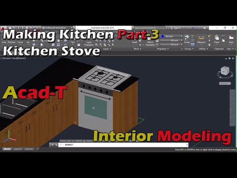 How To Make Kitchen in AutoCAD 2016 - kitchen Stove - AutoCAD For Beginners PART-3
