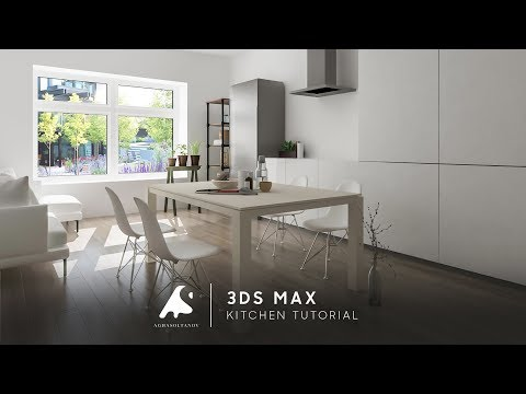3Ds Max Living & Kitchen Design Tutorial Light 2016+ Photosop [HD]