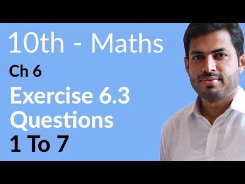 10th Class Maths solutions ,ch 6, lec 1, Exercise 6.3, Question no 1 to 7 -Matric Part 2