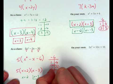 Factoring Quadratics when a=1, ex. 3