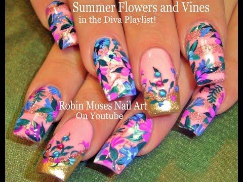 DIY Flower nails Design Tutorial   Vintage Diva Nail Art
