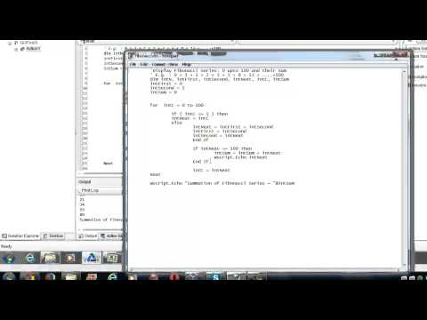 Running VBScript from Command Prompt -Explained with Fibonacci Sereies