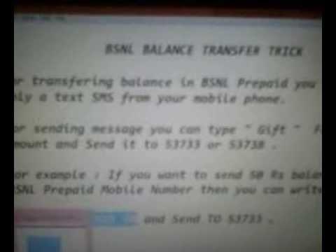 Transfer Balance Talktime in BSNL Mobile Network