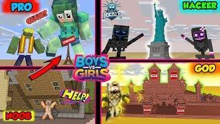 Monster School : Giant Build Battle Boys Vs Girls   Noob Vs Pro Vs Hacker - Minecraft Animation