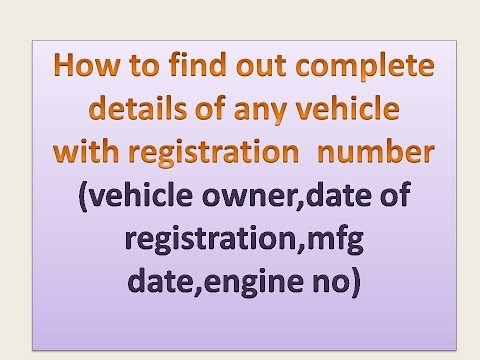 how to find out vehicle details with registration number