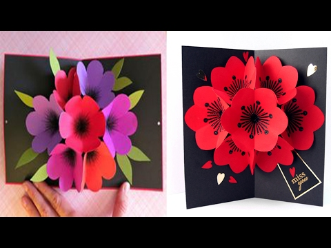 How to Make A Bouquet Flower Pop-up Card | DIY 3D flower POP UP | valentines Day 2018
