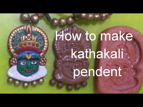 Terracotta kathakali pendent making/ pendant making with  clay molds