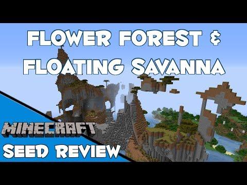 Floating Savanna & Flower Forest with Village - Minecraft 1.7.4 Seed