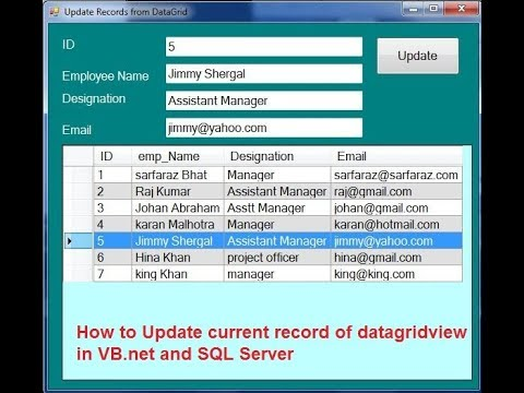 How to Update current record of datagridview  in VB.Net and SQL Server