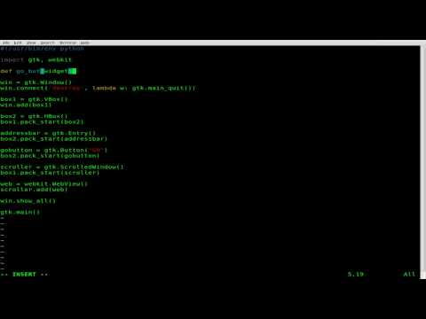Create a Basic Webbrowser with Python GTK and Webkit - Linux