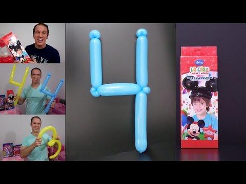como hacer numeros con globos - globoflexia facil - como hacer el numero 4 con globos