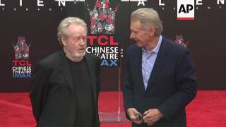 Harrison Ford praises director Ridley Scott as famed British director gets handprints in cement outs