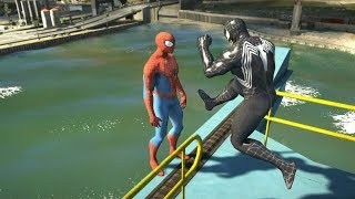 GTA 5 Water Ragdolls | SPIDERMAN vs VENOM Jumps/Fails #7 (Euphoria