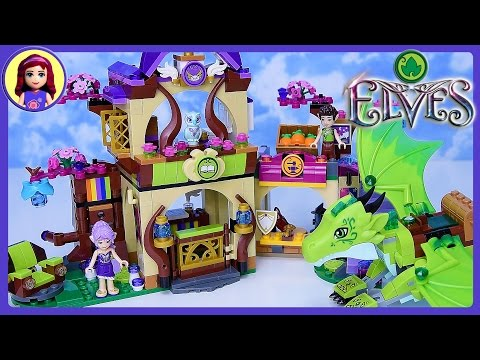 Lego Elves The Secret Market Place with Green Earth Dragon Build Review Play - Kids Toys