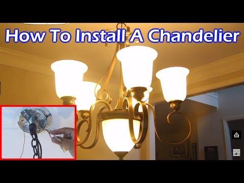 Install 6 Light Chandelier in Dining Room