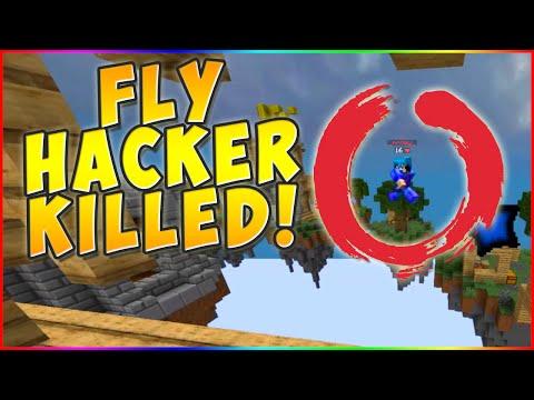 FLY HACKER KILLED LIVE! Minecraft ` Hypixel Skywars!