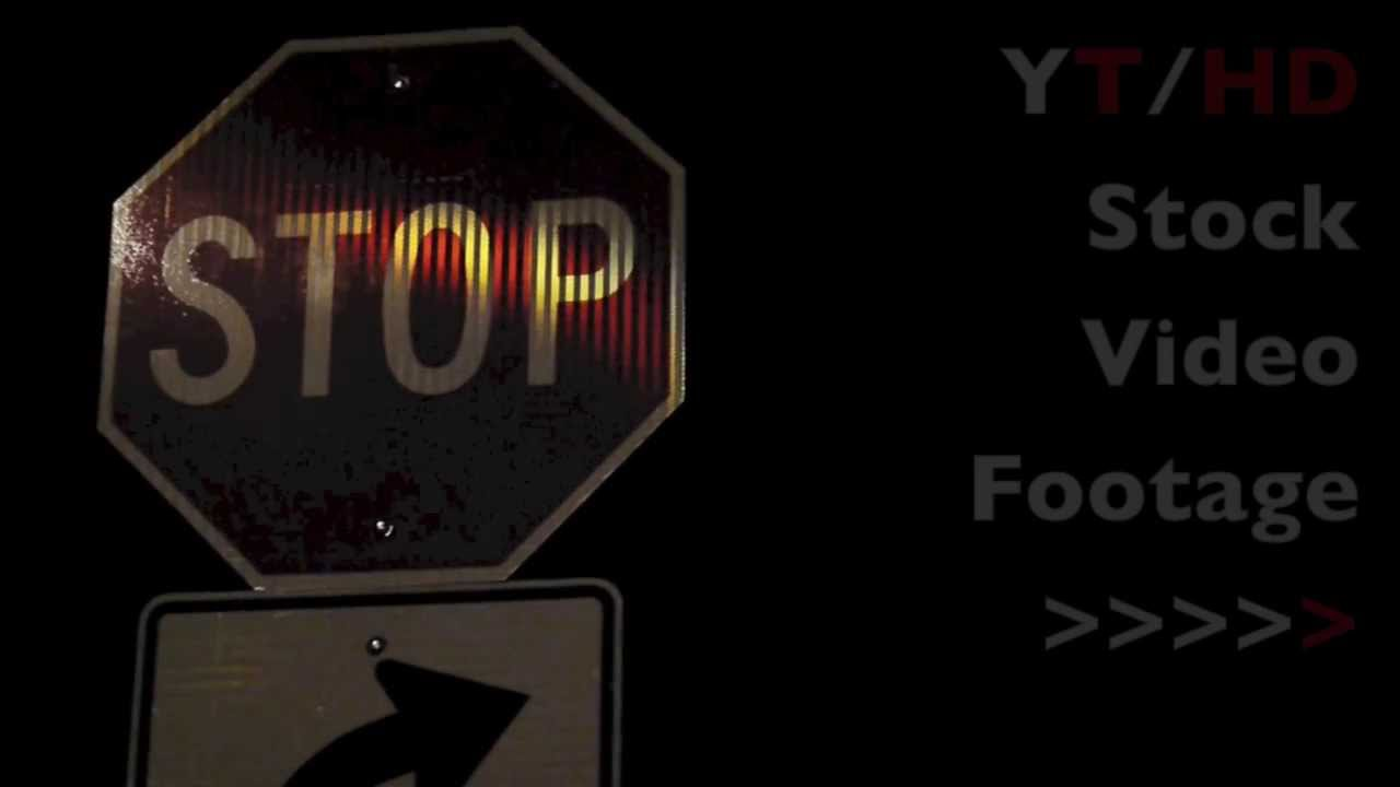 Street Stop Sign in Octagon Shape w/ Right Turn Only Traffic Road Sign   HD Stock Video Footage