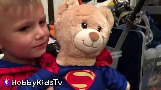 Build-a-Bear Batman and Superman with HobbyKids