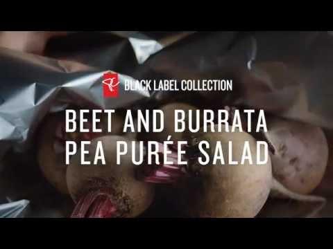 Beet and Burrata Pea Purée Salad