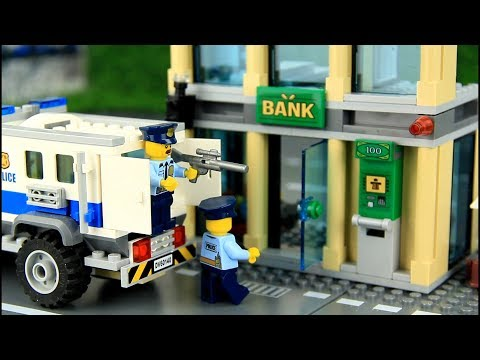 Police chase bad guys bank robbery. Video for Kids.