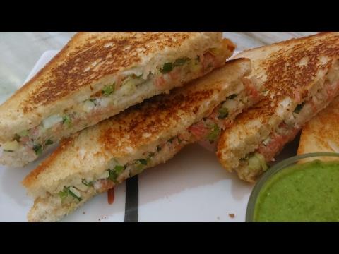 curd sandwich - crispy & creamy healthy yogurt sandwich - salad sandwich.