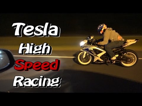 Tesla P90D Ludicrous High Speed Drag Racing Street Bikes - Nitrous Corvette