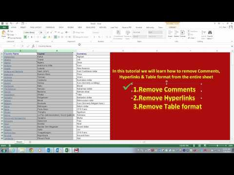 How to Remove Formatting in Excel - Remove Comments , Hyperlinks and table format