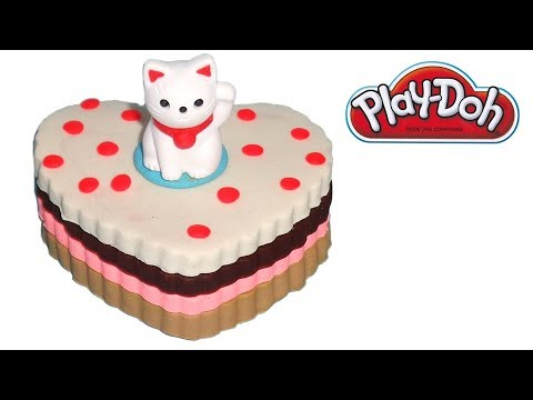 PlayDoh Cake with White Cat Topper