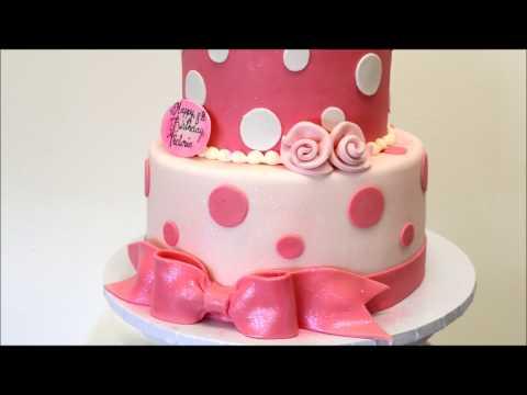 Pink and White Birthday cake - Birthday cake idea - 2 tier baby cake