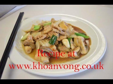 Stir fry pork belly with mushrooms