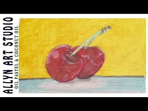 How to Blend Oil Pastels - Coconut Oil, Beginners Cherries Painting