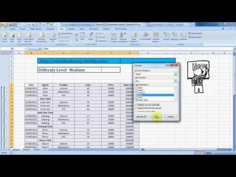 Subtotal Formula in Excel