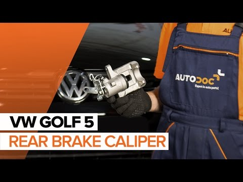 How to replace a rear brake caliper on VOLKSWAGEN GOLF 5 TUTORIAL | AUTODOC