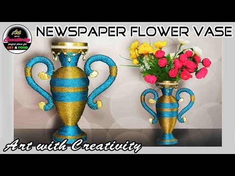 Newspaper Flower vase | Flower pot | paper craft | Best out of Waste | DIY | Art with Creativity 187