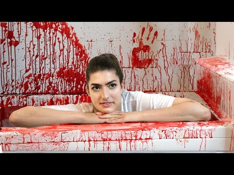 50 Gallons Of Fake Blood in Bathtub! (Halloween Bath Challenge)