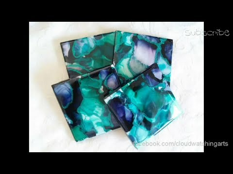 Fired Ink Coasters 2 - Alcohol Ink & Resin Pieces