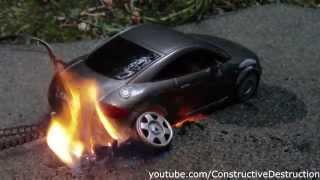RC car burnout ends in flames