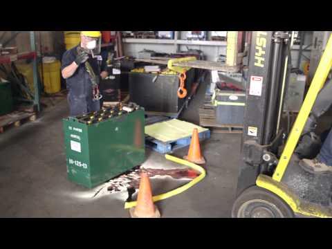 Forklift Battery Spill Cleanup