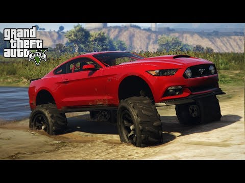 LIFTING A MUSTANG! 4x4 OFF-ROAD SPEC SPORTS CAR! (GTA 5 PC Mods)