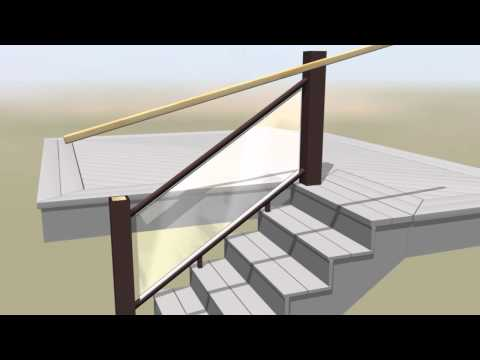 TimberTech Evolutions Rail Contemporary Stairs Glass Install Video
