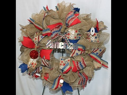 How to make a Ruffle deco mesh wreath -Patriotic